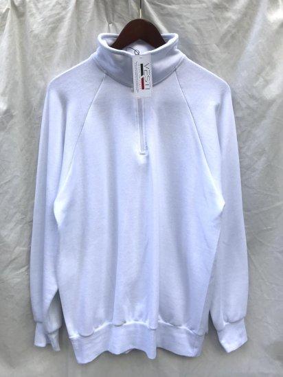 VESTI Half Zip Sweat Shirt Made in Italy White