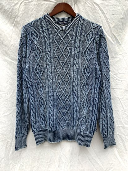 Original Blues Cable Knit Crew Neck Sweater Made in England W.IND SALE! 27,700 + Tax → 19,000 + Tax