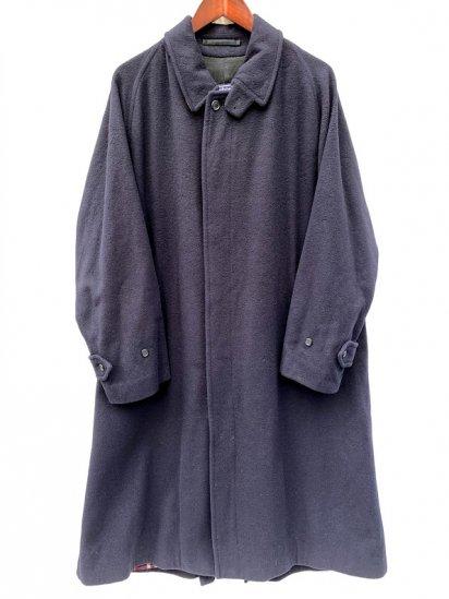 """80's Vintage Burberry's 1 Pannel Sleeve """"Wool×Alpaca"""" Balmacaan Coat Made In England Navy"""