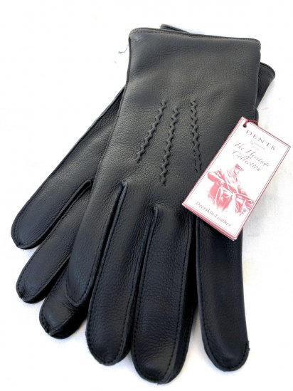 DENTS Deerskin Leather x Cashmere Lining Glove Made in England Black × Blue