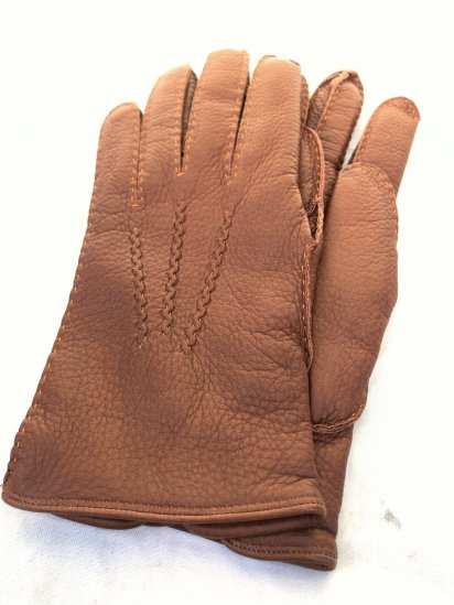 DENTS Deerskin Leather x Cashmere Lining Glove Made in England Light Brown × Orange