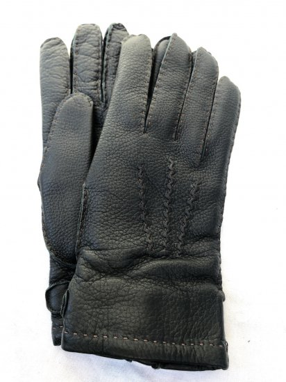 DENTS Deerskin Leather x Cashmere Lining Glove Made in England Green × Natural
