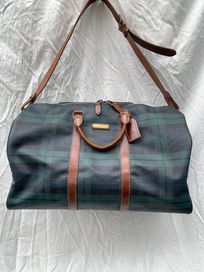 90s Old Ralph Lauren Black Watch Leather Boston Bag (Size: L)
