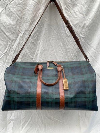 90s Old Ralph Lauren Black Watch Leather Boston Bag (Size: XL)