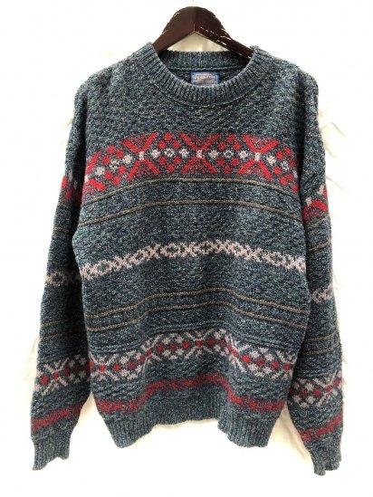70's ~ Vintage Pendleton Crew Neck Nordic Sweater Green