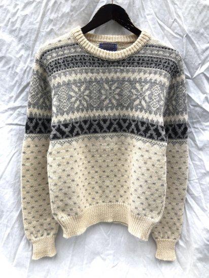 70's ~ Vintage Pendleton Crew Neck Nordic Sweater Natural