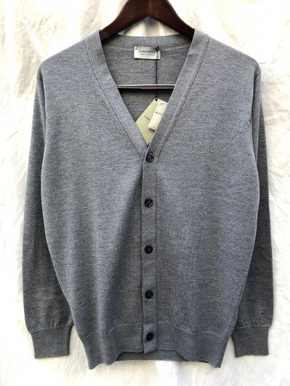 "John Smedley 24G Extra Fine Merino Wool Knit ""A4373"" Cardigan Made in England Silver"
