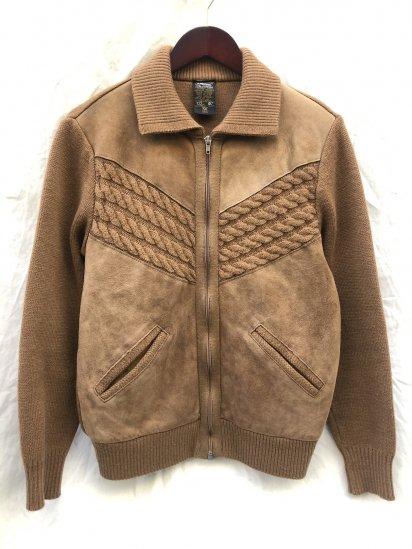 70-80's Vintage St.Michael Zip Up Knit Jacket Made in U.K Camel