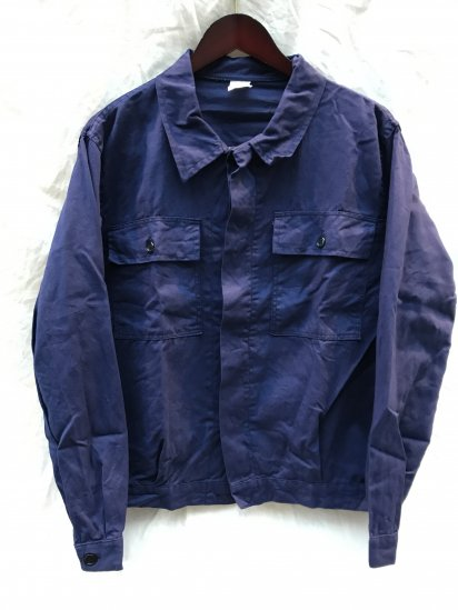 80's Vintage Dead Stock Italian Military Blue Drill Work Jacket Made in ITALY