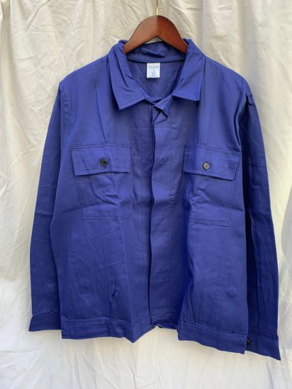 80's Vintage Dead Stock Italian Military Blue Drill Work Jacket Made in ITALY / SIZE : 52