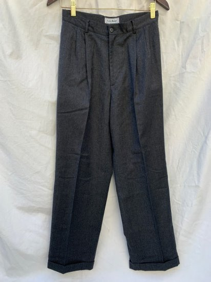 80s Vintage LL.Bean 2 Tuck Wool Flannel Trousers Made In USA Mint Condition