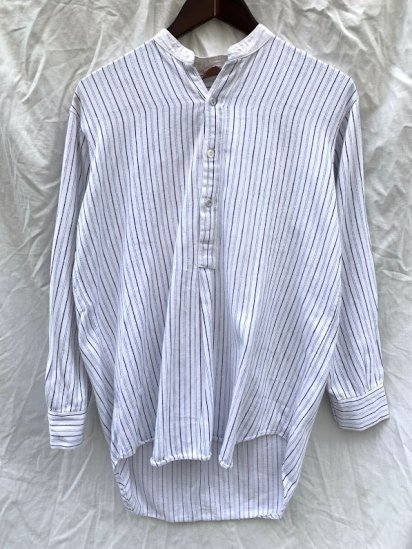 40's Vintage Cotton Flannel Collarless Pullover Shirts / 2