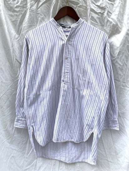 """40's Vntage Cotton Flannel """"MONUMENT"""" Collarless Pullover Shirts / 4"""