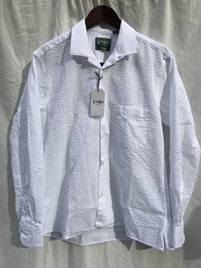Gitman Vintage Seersucker Camp Collar Shirts Made in USA White