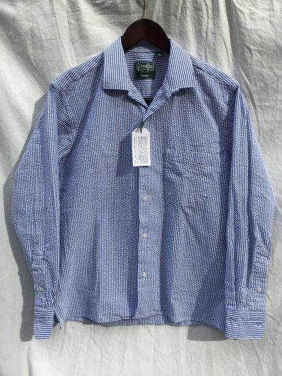 Gitman Vintage Seersucker Camp Collar Shirts Made in USA White x Sax Stripe