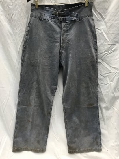 50's Vintage Royal Navy W Buckle Moleskin Pants