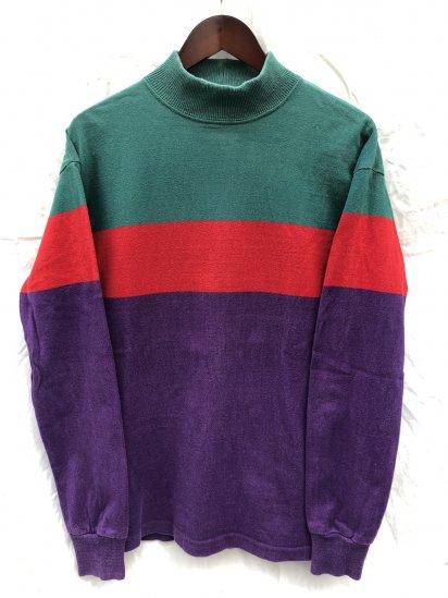 ~ 90's Old L.L.Bean Mock Neck Shirts Made in U.S.A Green x Red x Purple