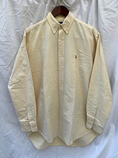 <img class='new_mark_img1' src='https://img.shop-pro.jp/img/new/icons50.gif' style='border:none;display:inline;margin:0px;padding:0px;width:auto;' />90's Old Ralph Lauren Button Down Oxford Shirts Yellow