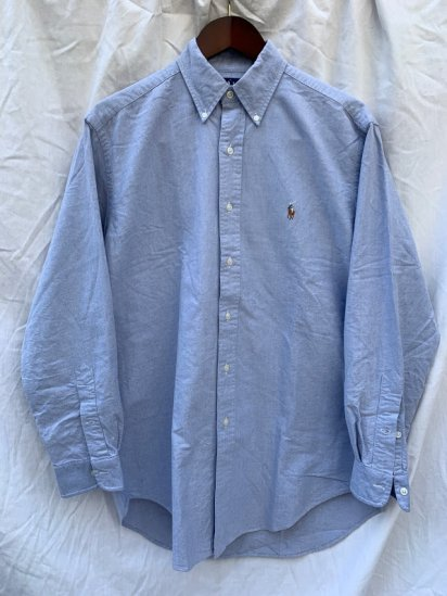 90's Old Ralph Lauren Button Down Oxford Shirts Sax