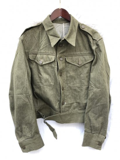 <img class='new_mark_img1' src='https://img.shop-pro.jp/img/new/icons50.gif' style='border:none;display:inline;margin:0px;padding:0px;width:auto;' />50's Vintage Dead Stock British Army Battle Dress Uniform Green Denim Jacket