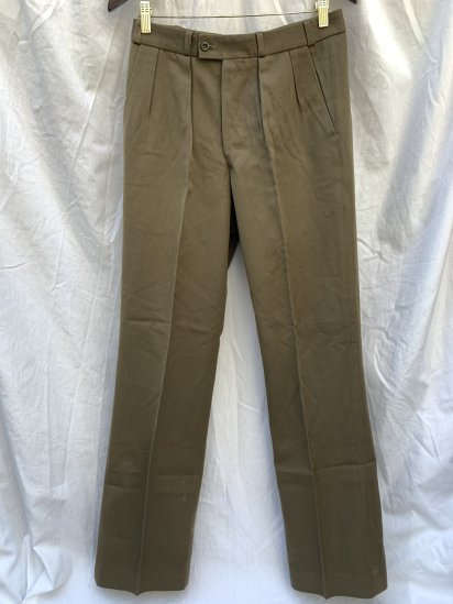 80's Vintage Dead Stock Dutch Army 2 Tac Pleated Wool Trousers Brown