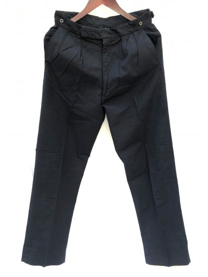 60's Vintage Pleated Front Cotton Satin Trousers Black Over Dyed <BR> W 28~30 x L 30