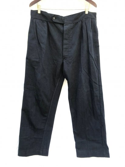 50-60's Vintage Tailor Made 2 Pleated Front Trousers Black Over Dyed <BR> W 35~38 x L 29