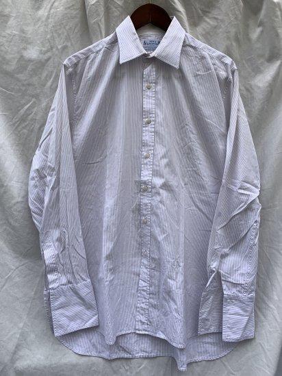 70-80's Vintage New & Lingwood Broad Dress Shirts <BR> Grey × Pink × White Stripe