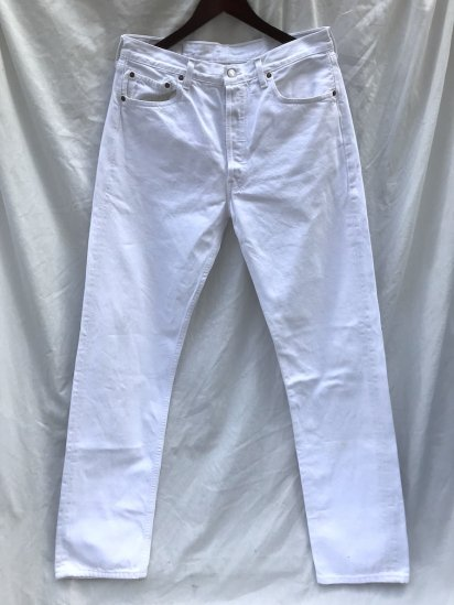 90's ~ Old Euro Levi's 501 Made in FRANCE WHITE 33 x 35