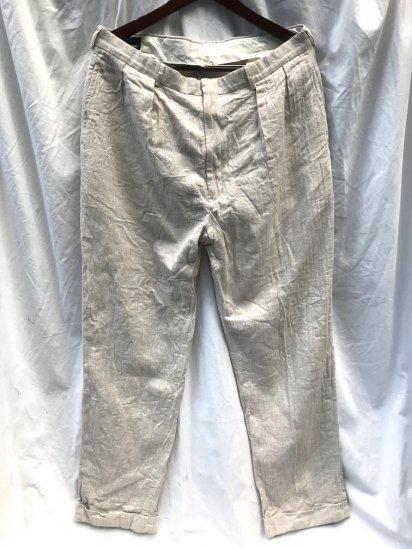 90's ~ Old Ralph Lauren LINEN x Cotton Herringbone Trousers