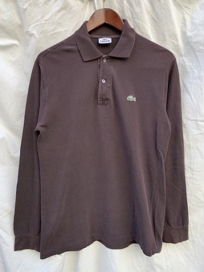 ~00's Vintage Lacoste L/S Polo Shirts Charcoal Brown