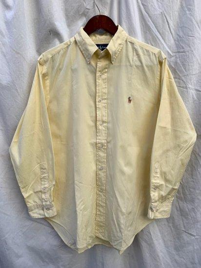 Old Ralph Lauren L/S Pin Oxford BD Shirts Cream Yellow (SIZE : 16)