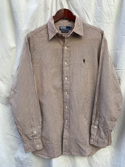 """Old Ralph Lauren L/S  """"100% Two Ply Cotton"""" Regular Collar Shirts Brown Check (SIZE : L )"""