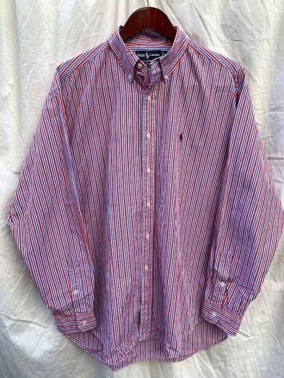 Old Ralph Lauren L/S Broad Stripe Shirts Blue×Red Stripe (SIZE : L )