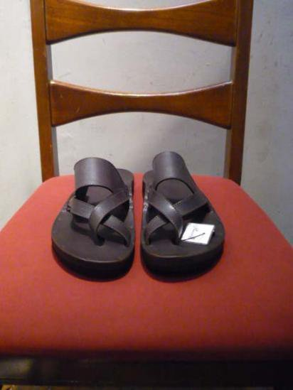 JUTTA NEUMANN FRANK  BIRKENSTOCK SOLE LEATHER SANDAL D.brown