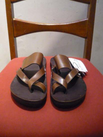 JUTTA NEUMANN FRANK  BIRKENSTOCK SOLE LEATHER SANDAL Brown