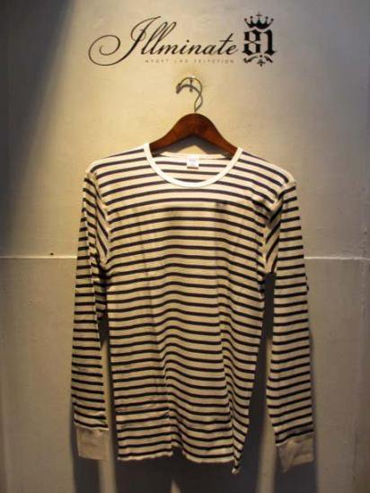 Gicipi Cotton Waffle Crew L/T Made in ITALY  NATURAL x NAVY
