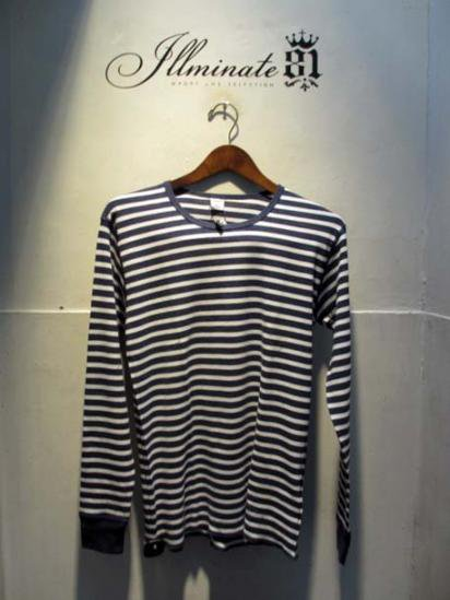 Gicipi Cotton Waffle Crew L/T Made in ITALY NAVY x WHITE