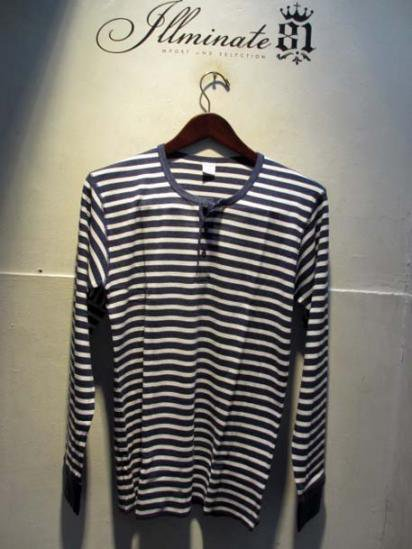Gicipi Cotton Waffle Henley L/T Made in Italy NAVY × WHITE