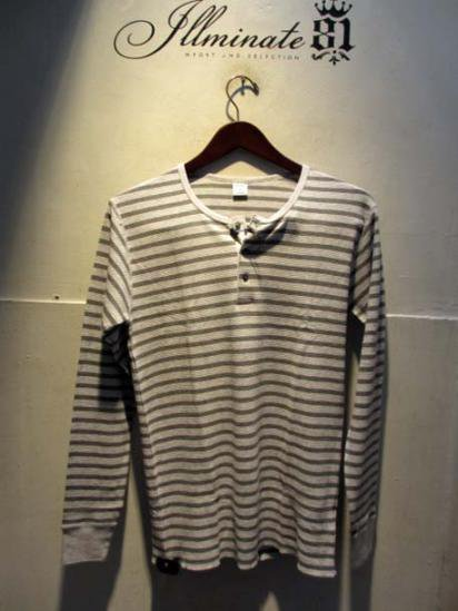 Gicipi Cotton Waffle Henley L/T Made in Italy GRAY × L.GRAY