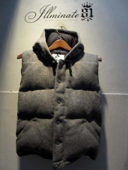 Crescent Down Works Melton Wool Italian Vest with Hood L.Gray