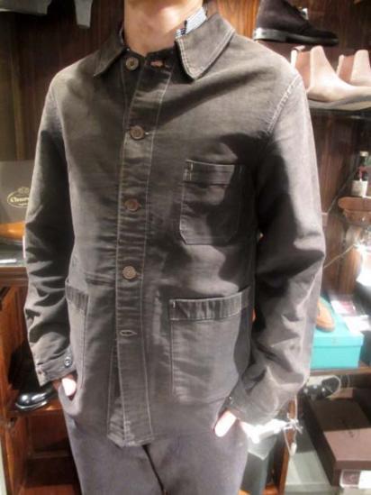 Vintage Black Moleskin French Work Jacket Style sample