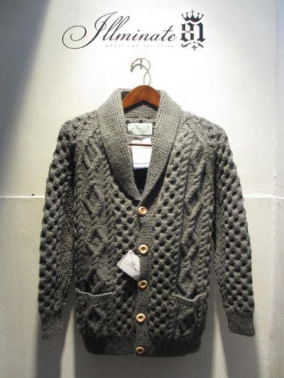 INVERALLAN WOOL SHAWL COLLER CARDIGAN HAND MADE IN SCOTLAND