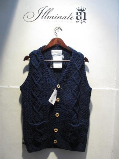 INVERALLAN 9H Button Front Vest Hand Knit in Scotland