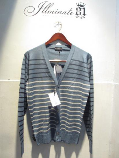 JOHN SMEDLEY Merino Wool Cardigan Made in England Blue