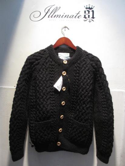INVERALLAN 4a Cardigan Made in Scotland Black