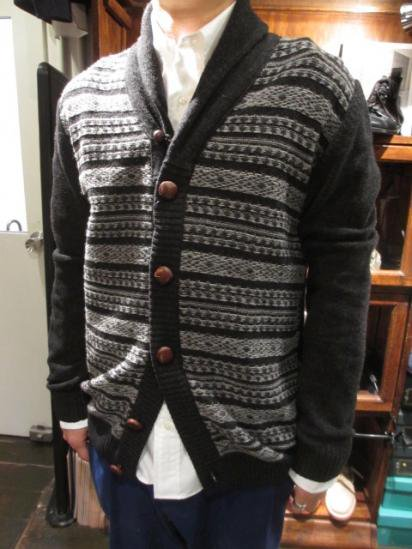 Barbour STEVE McQUEEN Collection Chase Fairisle Cardigan Style Sample