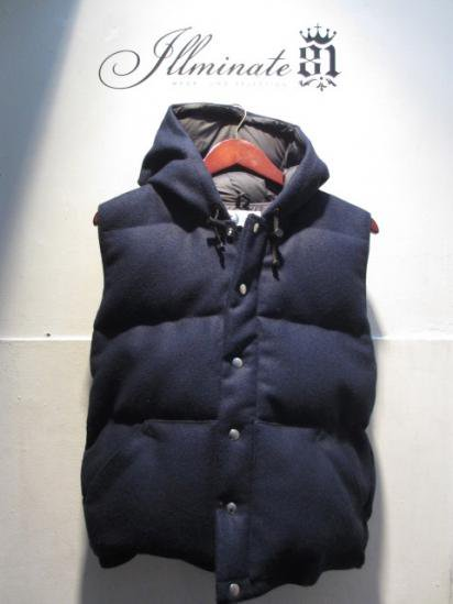 Crescent Down Works Melton Wool Italian Vest with Hood Navy