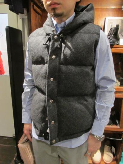 Crescent Down Works Melton Wool Italian Vest with Hood Style sample