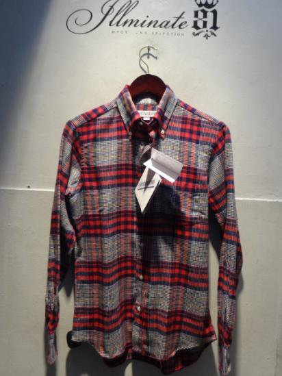 INDIVIDUALIZED SHIRTS Flannel B.D Standard Fit Made in U.S.A Red/Nv